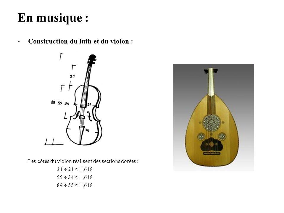 En musique : Construction du luth et du violon :