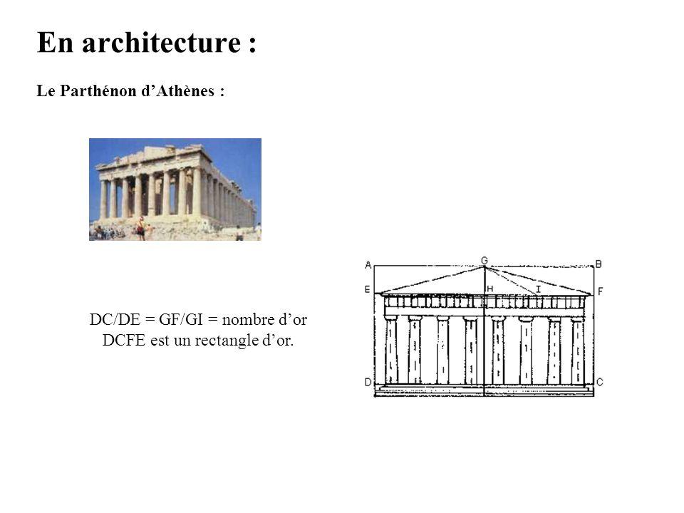 En architecture : Le Parthénon d'Athènes : DC/DE = GF/GI = nombre d'or