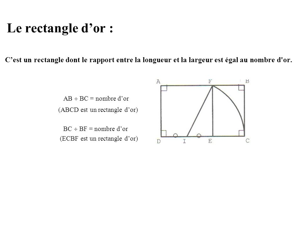 Le rectangle d'or : AB  BC = nombre d'or