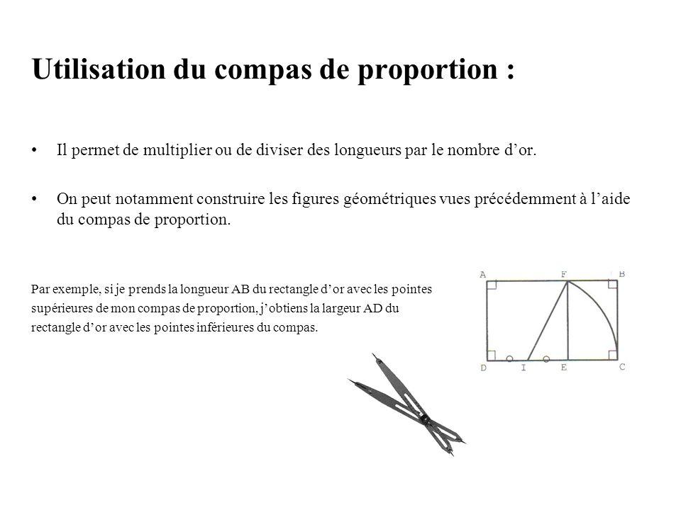 Utilisation du compas de proportion :