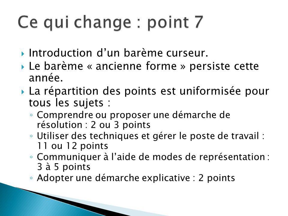 Ce qui change : point 7 Introduction d'un barème curseur.