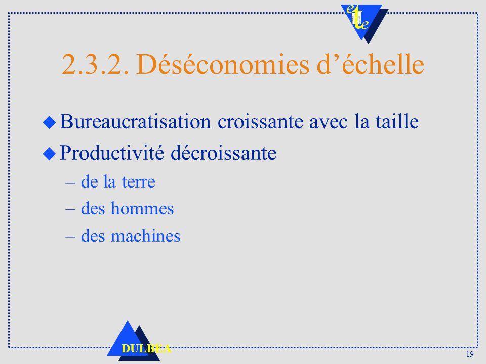 2.3.2. Déséconomies d'échelle