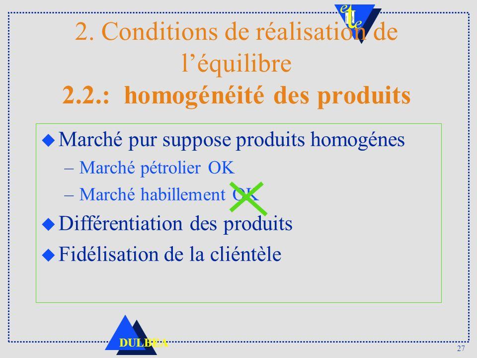 2. Conditions de réalisation de l'équilibre 2. 2