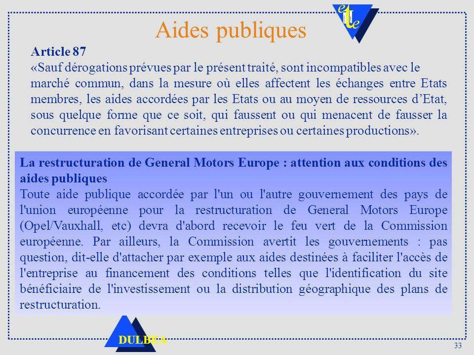 Aides publiques Article 87