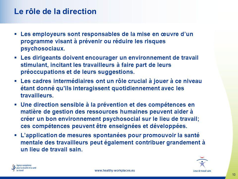 Le rôle de la direction Les employeurs sont responsables de la mise en œuvre d'un programme visant à prévenir ou réduire les risques psychosociaux.