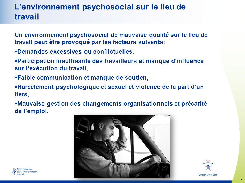 L'environnement psychosocial sur le lieu de travail