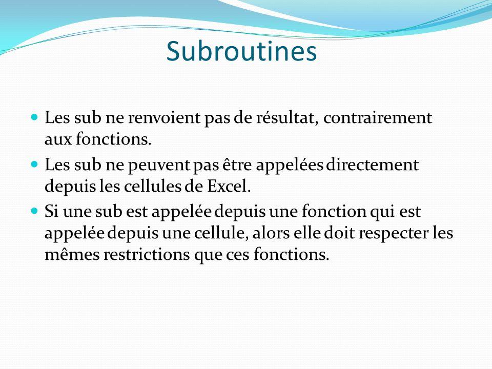Subroutines Les sub ne renvoient pas de résultat, contrairement aux fonctions.