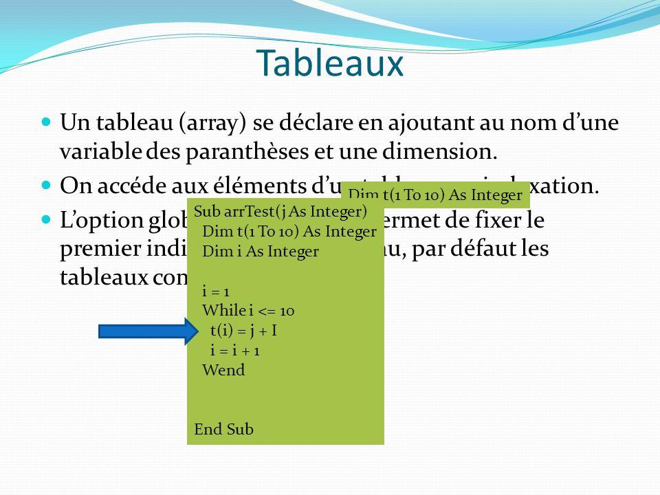 Tableaux Un tableau (array) se déclare en ajoutant au nom d'une variable des paranthèses et une dimension.
