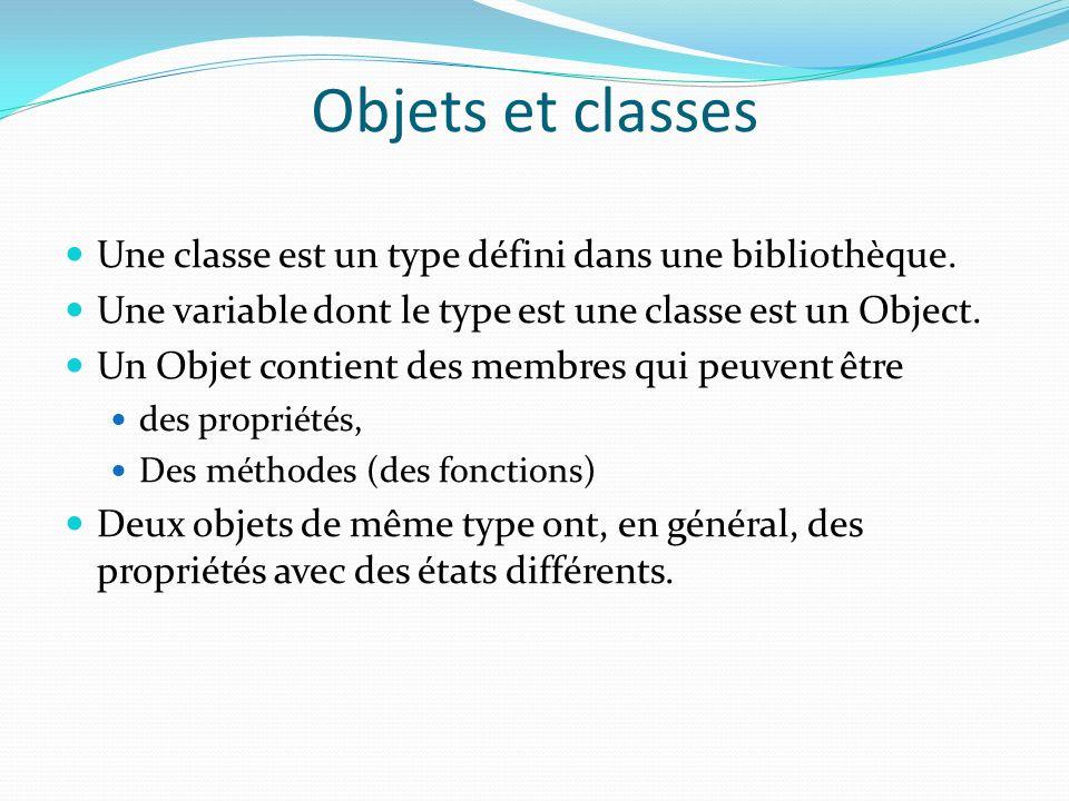 Objets et classes Une classe est un type défini dans une bibliothèque.