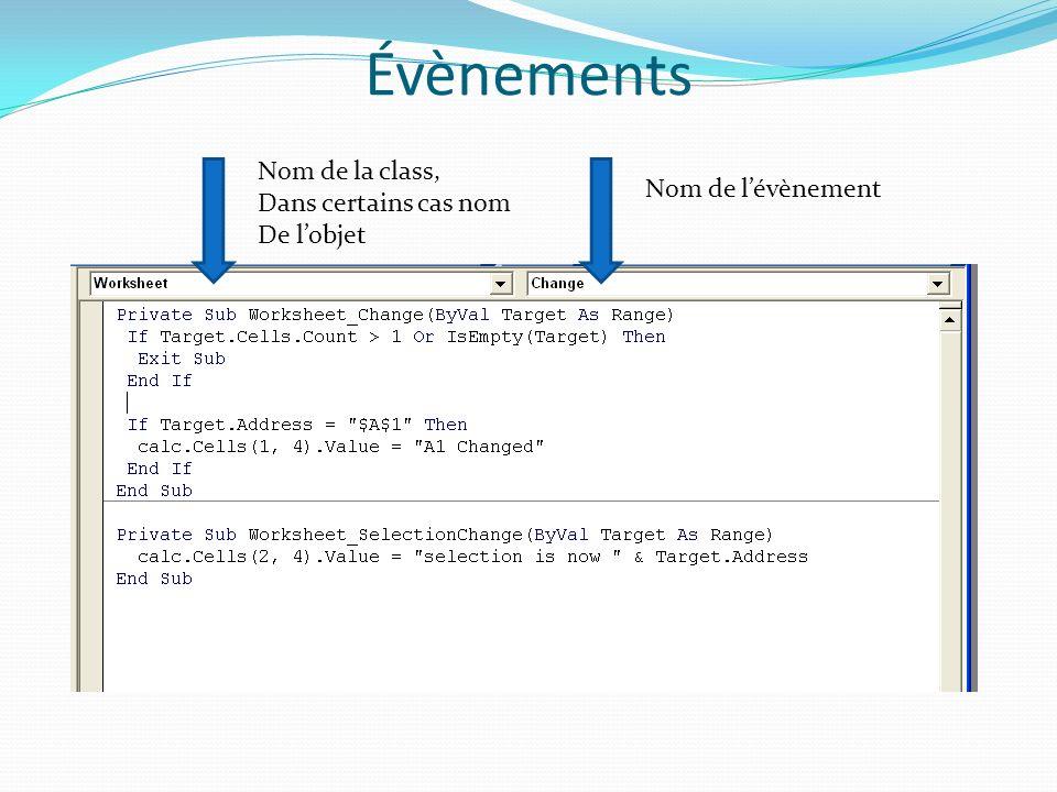 Évènements Nom de la class, Dans certains cas nom Nom de l'évènement