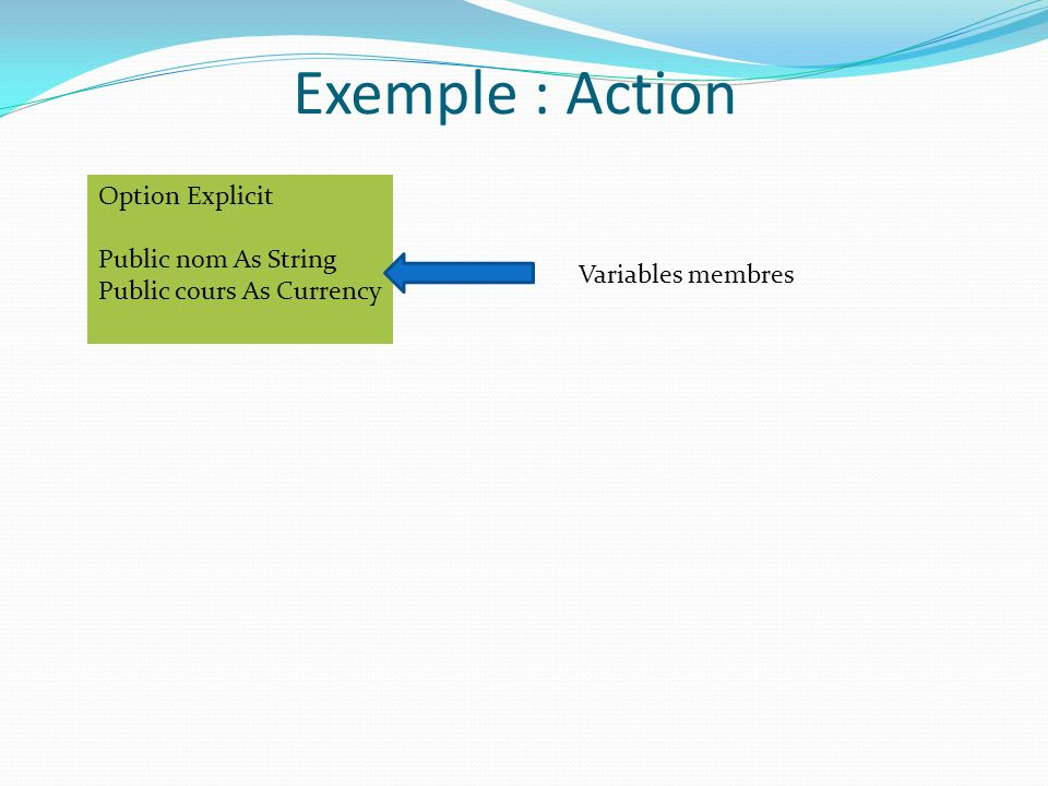 Exemple : Action Option Explicit Public nom As String