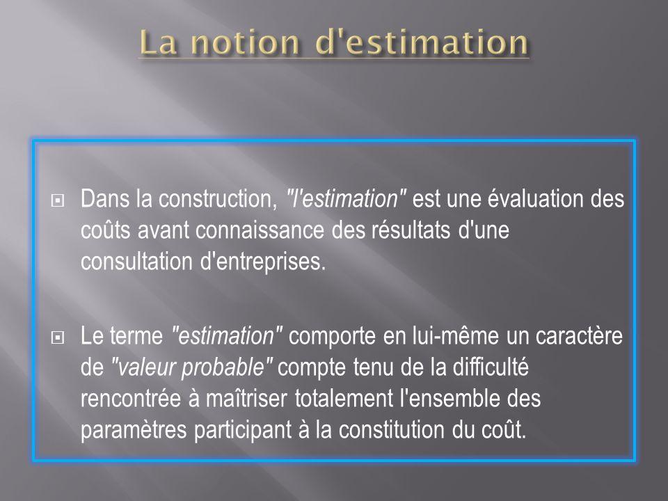 La notion d estimation