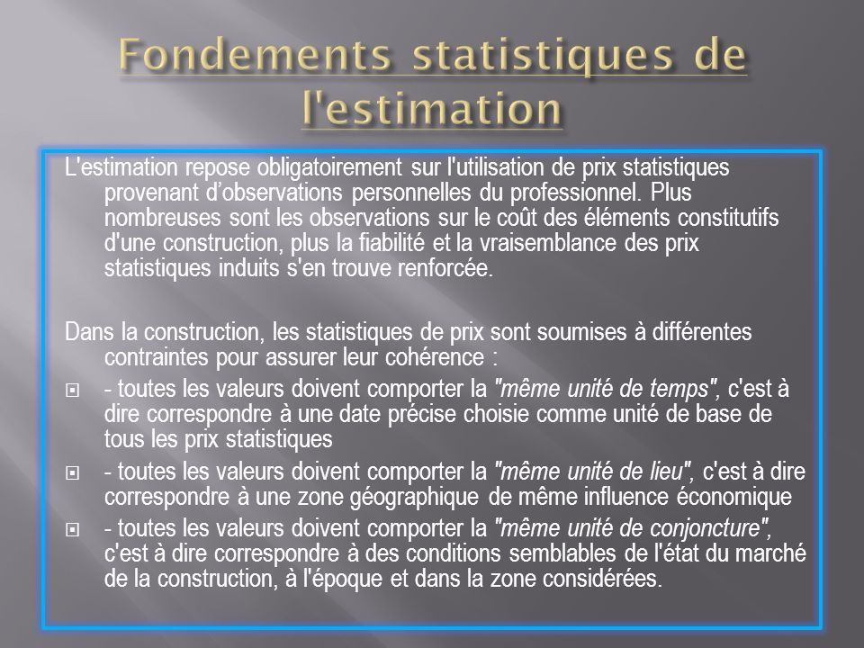 Fondements statistiques de l estimation