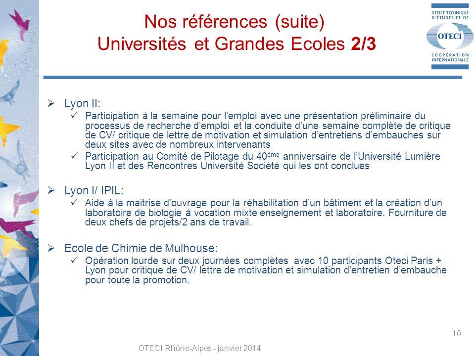 Nos références (suite) Universités et Grandes Ecoles 2/3