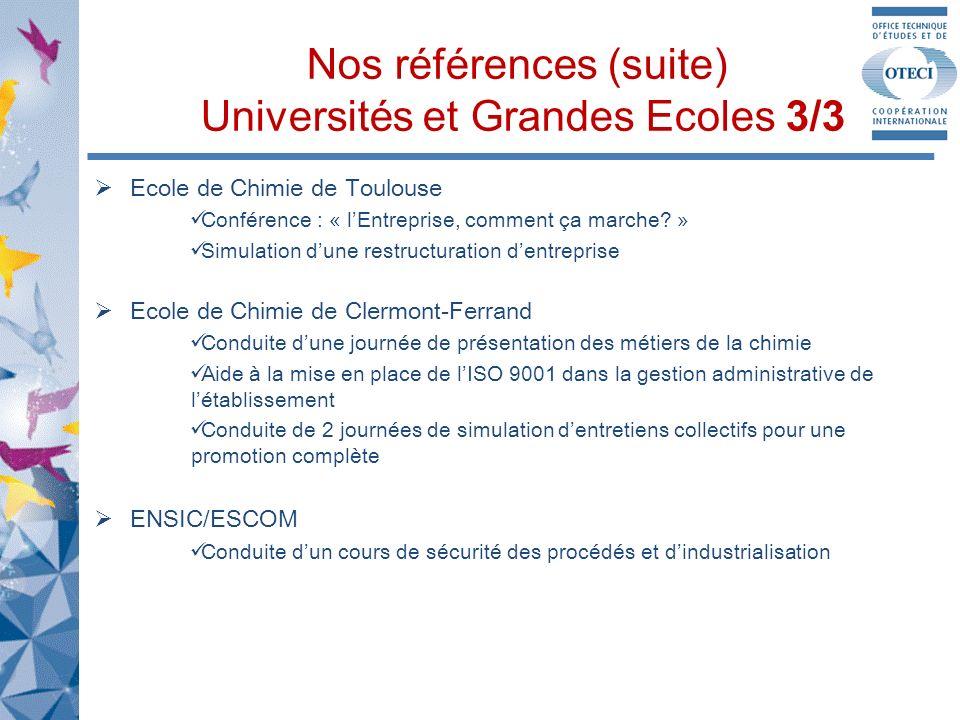 Nos références (suite) Universités et Grandes Ecoles 3/3