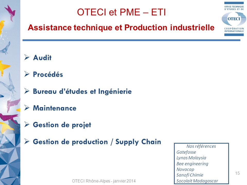 OTECI et PME – ETI Assistance technique et Production industrielle