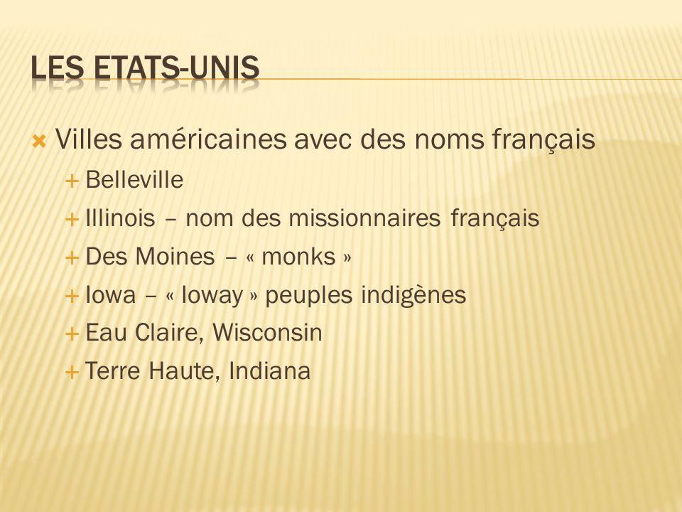 Les Etats-Unis Villes américaines avec des noms français Belleville
