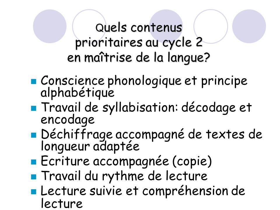 Quels contenus prioritaires au cycle 2 en maîtrise de la langue