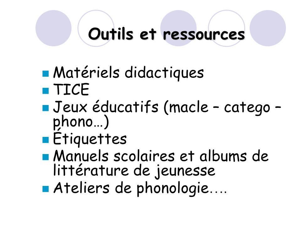 Outils et ressources Matériels didactiques TICE