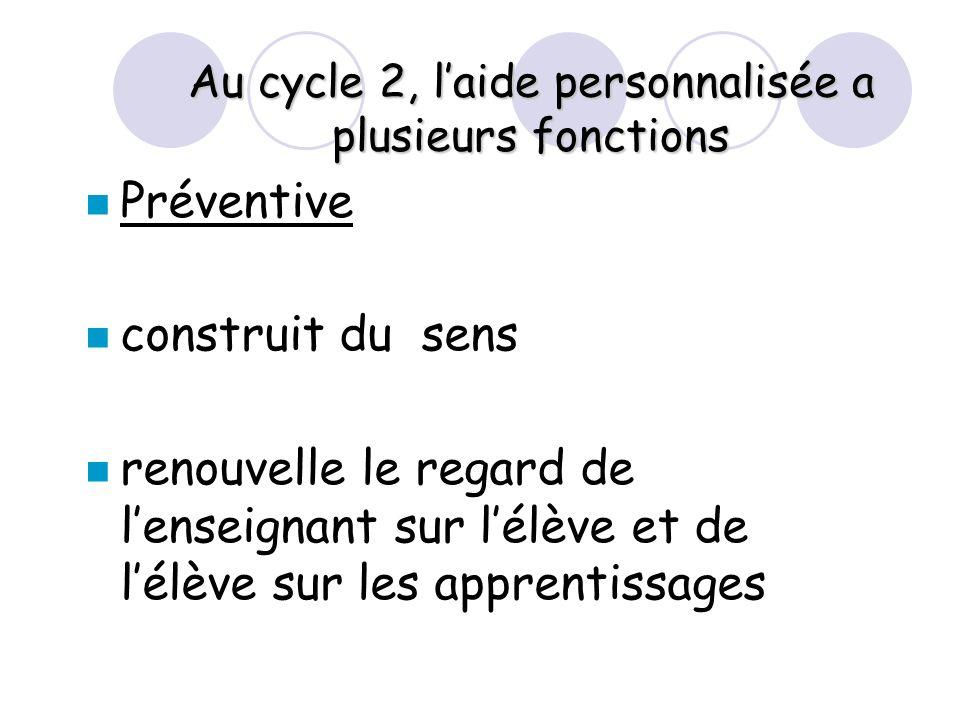 Au cycle 2, l'aide personnalisée a plusieurs fonctions