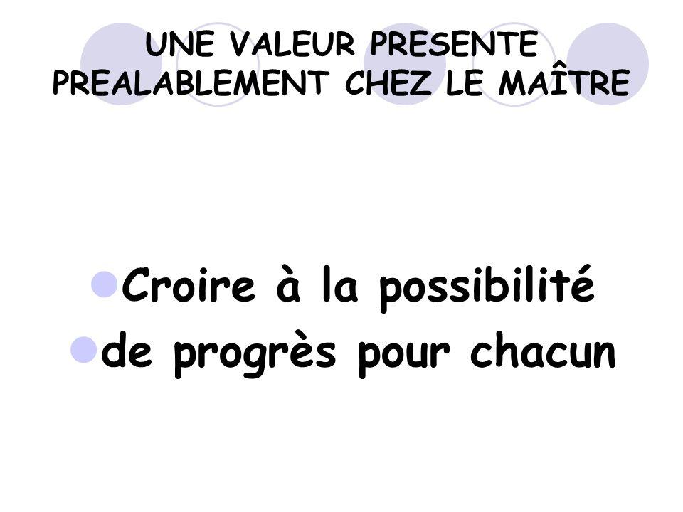 UNE VALEUR PRESENTE PREALABLEMENT CHEZ LE MAÎTRE