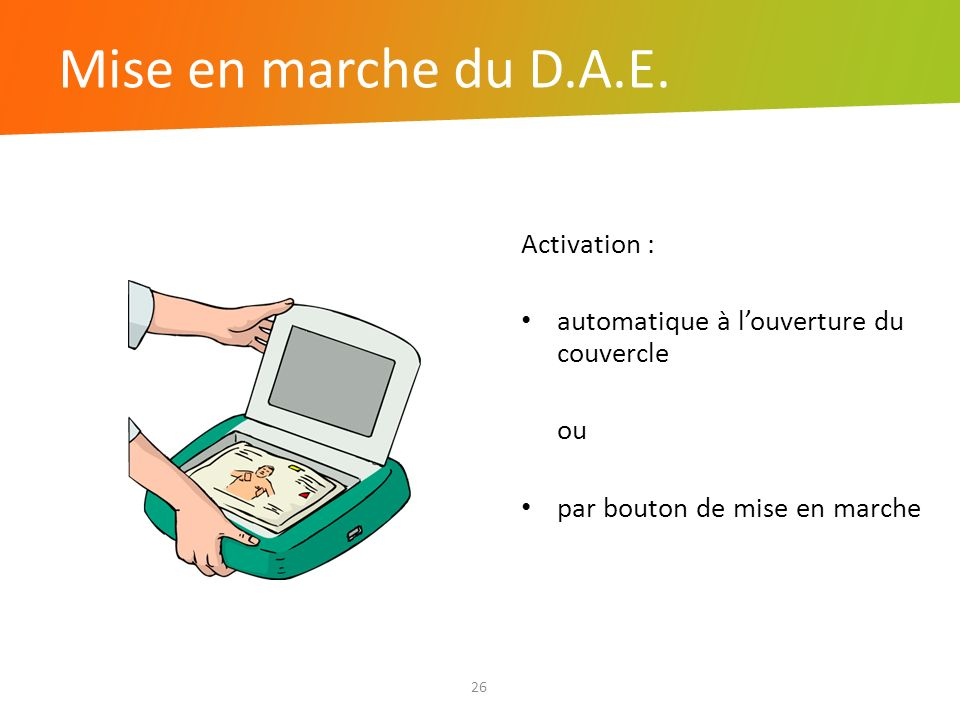Mise en marche du D.A.E. Activation :