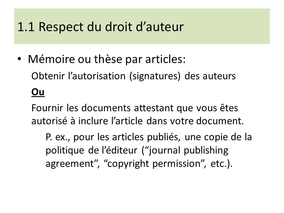 1.1 Respect du droit d'auteur