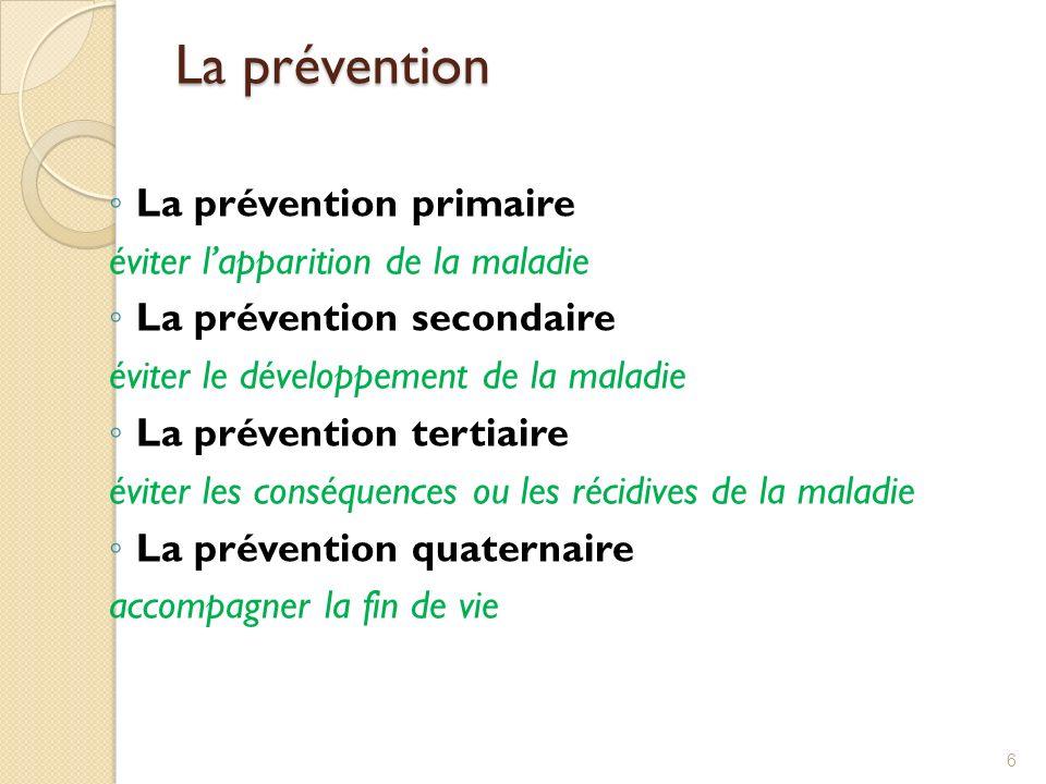La prévention La prévention primaire éviter l'apparition de la maladie
