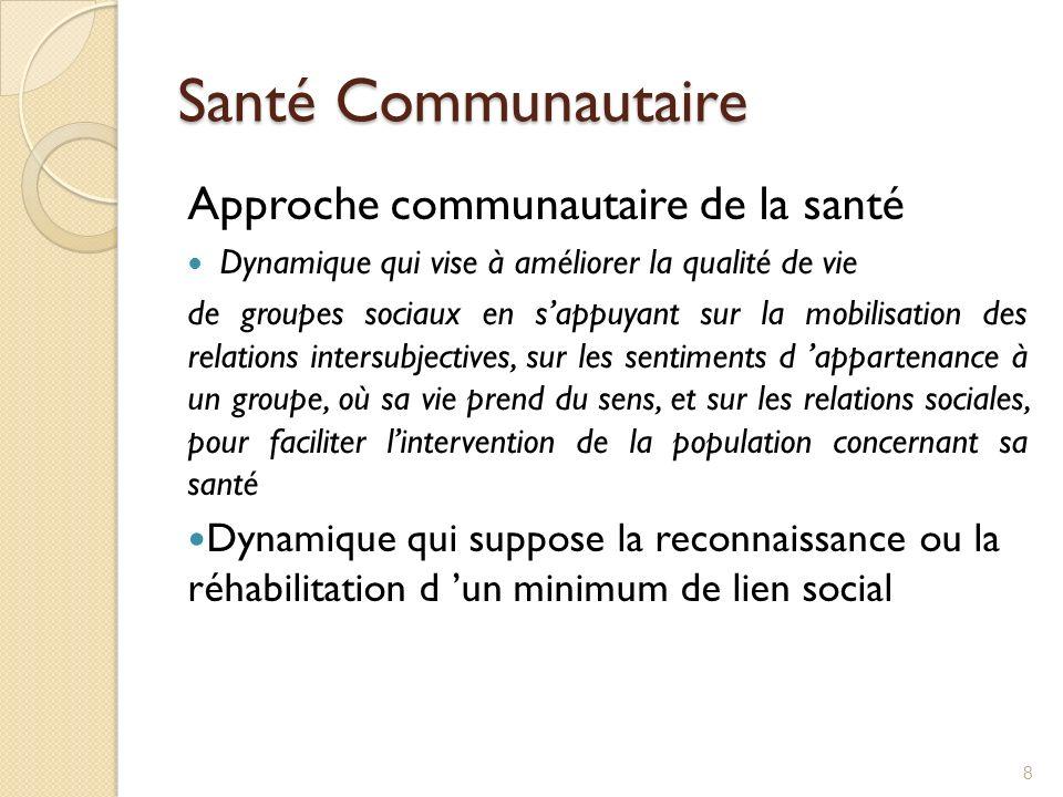 Santé Communautaire Approche communautaire de la santé