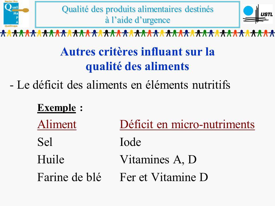 Autres critères influant sur la qualité des aliments