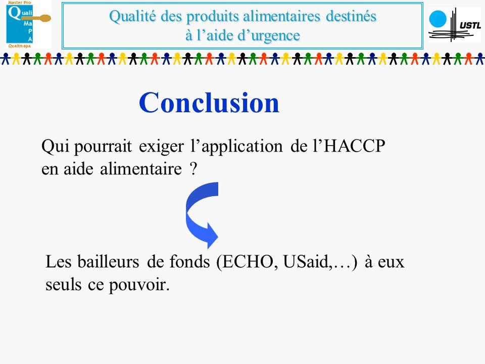 Qui pourrait exiger l'application de l'HACCP en aide alimentaire