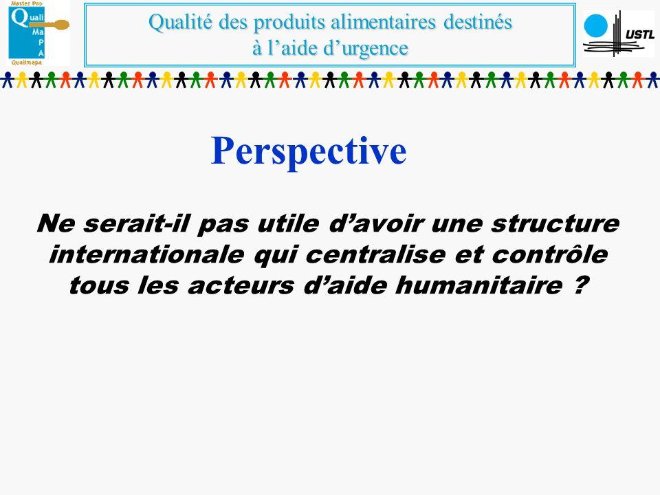 Perspective Ne serait-il pas utile d'avoir une structure internationale qui centralise et contrôle tous les acteurs d'aide humanitaire