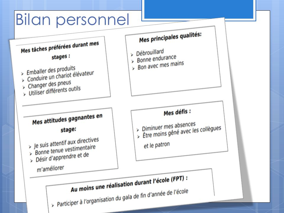Bilan personnel Annick Exemple de bilan personnel