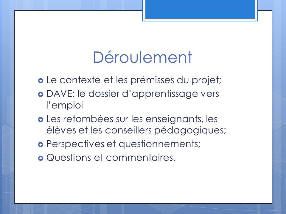 Déroulement Le contexte et les prémisses du projet;