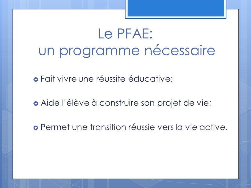 Le PFAE: un programme nécessaire