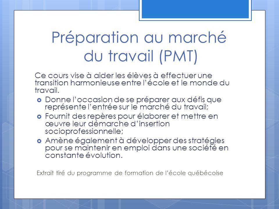 Préparation au marché du travail (PMT)