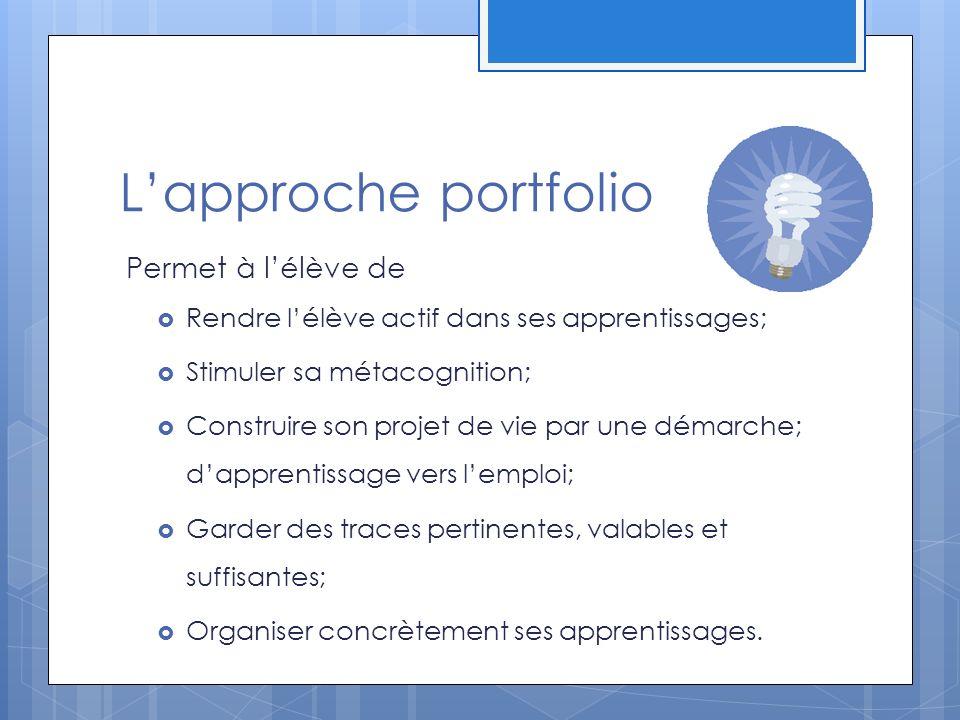 L'approche portfolio Permet à l'élève de