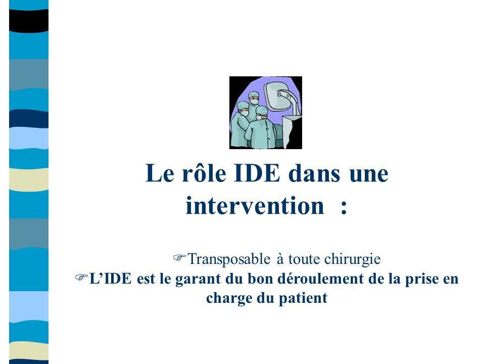 Le rôle IDE dans une intervention :