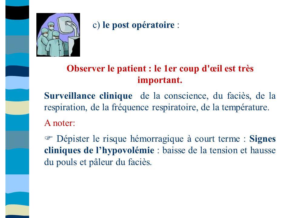 Observer le patient : le 1er coup d œil est très important.