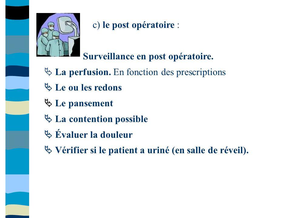 c) le post opératoire : Surveillance en post opératoire.  La perfusion. En fonction des prescriptions.