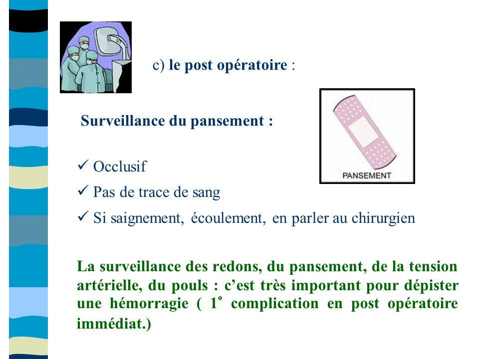 c) le post opératoire : Surveillance du pansement :   Occlusif.  Pas de trace de sang.  Si saignement, écoulement, en parler au chirurgien.