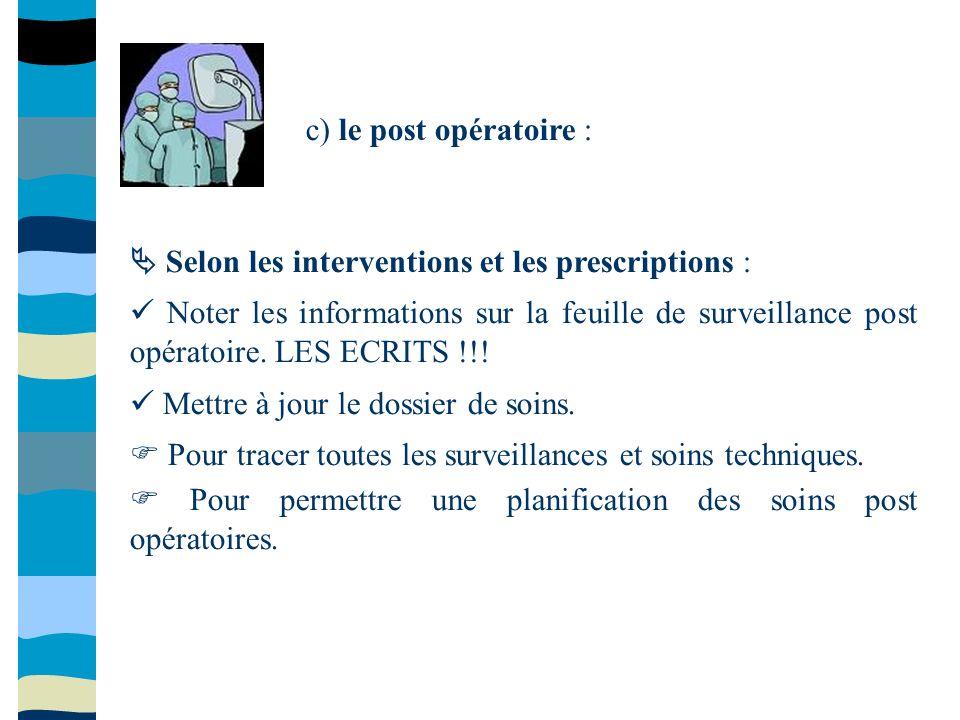 c) le post opératoire :  Selon les interventions et les prescriptions :