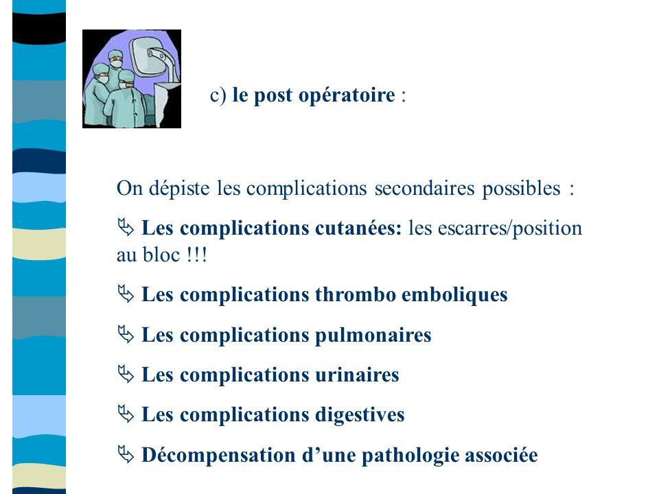 c) le post opératoire : On dépiste les complications secondaires possibles :  Les complications cutanées: les escarres/position au bloc !!!