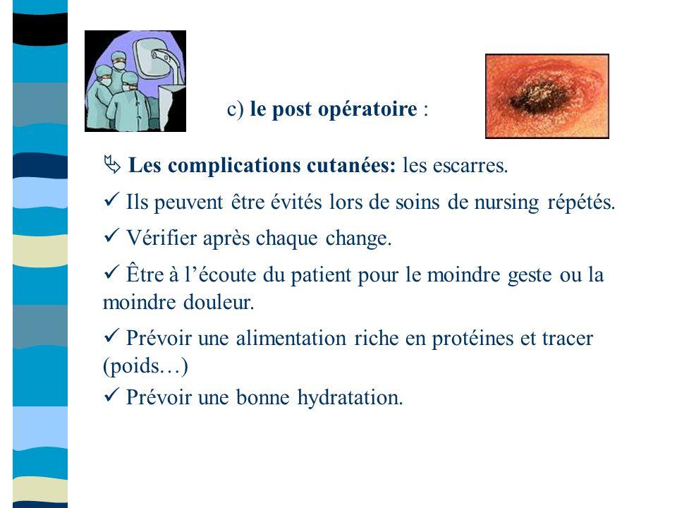 c) le post opératoire :  Les complications cutanées: les escarres.  Ils peuvent être évités lors de soins de nursing répétés.