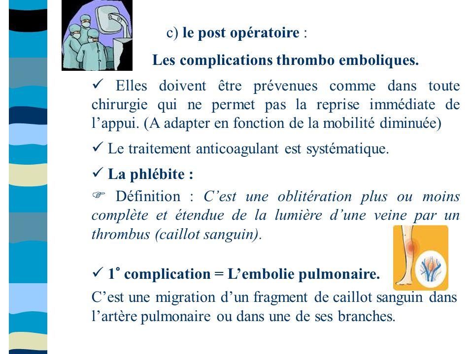 Les complications thrombo emboliques.