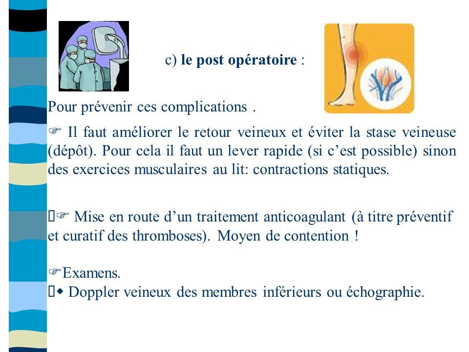 c) le post opératoire : Pour prévenir ces complications .