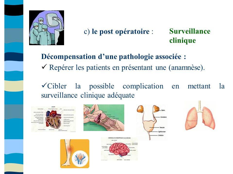 c) le post opératoire : Surveillance clinique. Décompensation d'une pathologie associée :  Repérer les patients en présentant une (anamnèse).