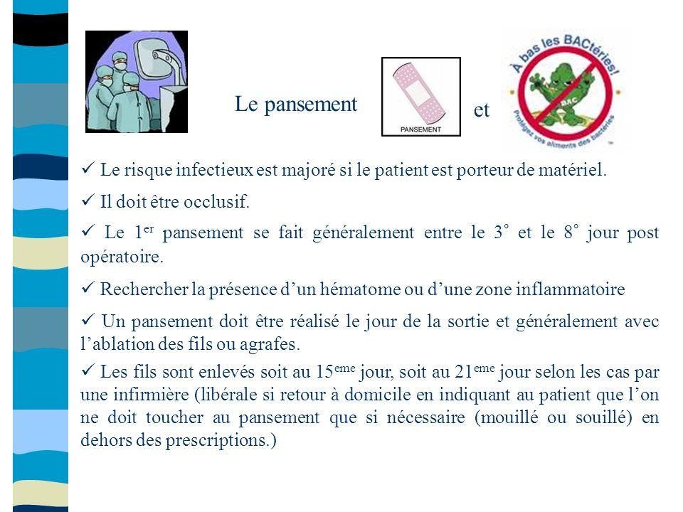 Le pansement et.  Le risque infectieux est majoré si le patient est porteur de matériel.  Il doit être occlusif.