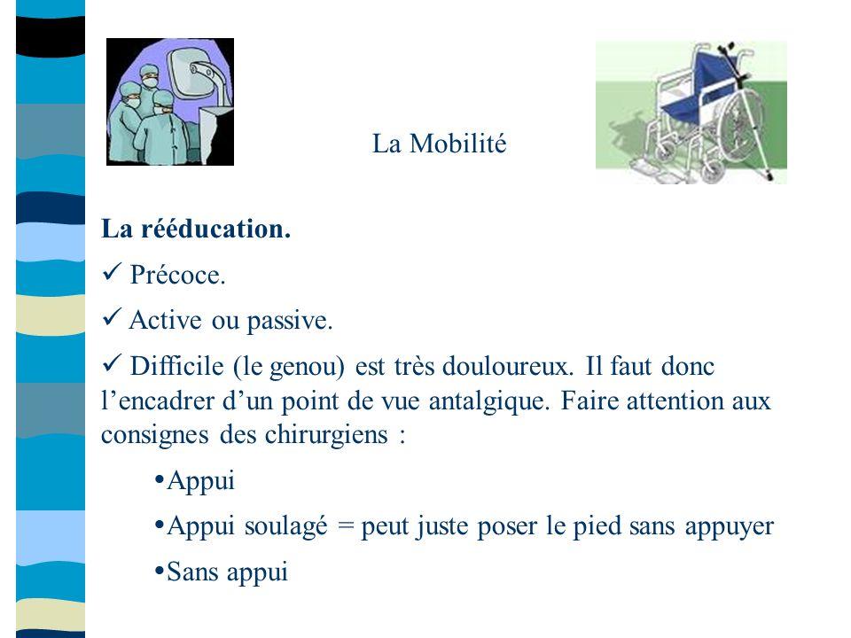 La Mobilité La rééducation.  Précoce.  Active ou passive.