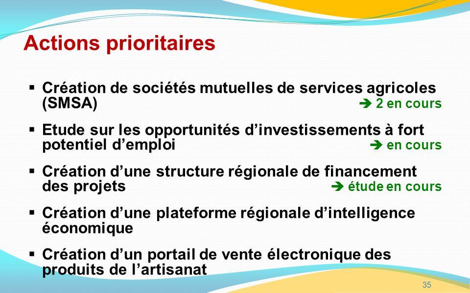 Actions prioritaires Création de sociétés mutuelles de services agricoles (SMSA)  2 en cours.